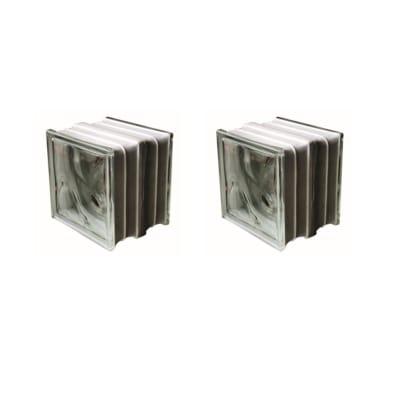 Vetromattone Termo acustico trasparente ondulato H 19 x L 19 x Sp 16 cm 2 pezzi