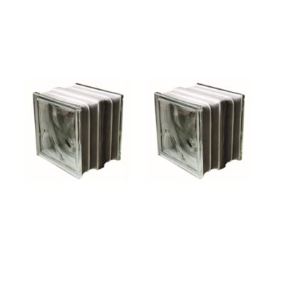 Vetromattone trasparente ondulato Termo acustico H 19 x L 19 x Sp 16 cm 2 pezzi