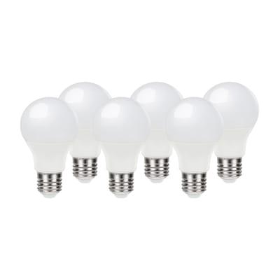 Lampadina LED E27, Goccia,  diffusore Opaco, col.luce Bianco, Luce naturale, 8.5W=806LM (equiv 60 W), 220° , LEXMAN , set di 6 pezzi