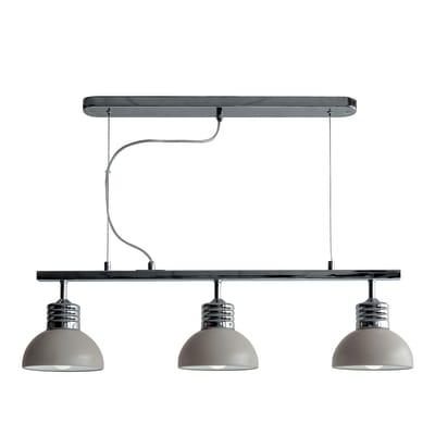 Lampadario Moderno Charlie tortora, cromo in metallo, D. 80 cm, 3 luci, SEYNAVE