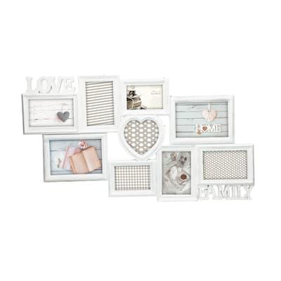 Cornice multifoto Love & family shabby bianco 9 foto