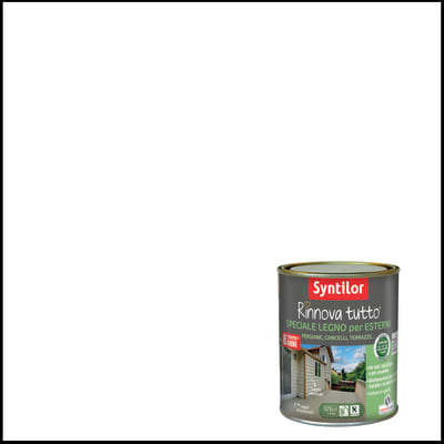 Vernice e smalto da esterno per legno base acqua SYNTILOR Rinnova Tutto bianco 2.5 L