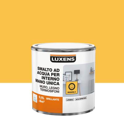 Vernice di finitura LUXENS Manounica base acqua giallo banana 3 lucido 0.5 L