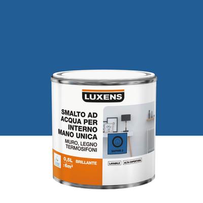 Smalto LUXENS base acqua blu zaffiro 2 lucido 0.5 L