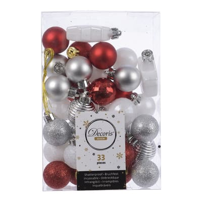 Sfera natalizia in plastica Ø 3 cm confezione da 33 pezzi