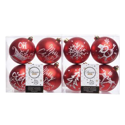 Sfera natalizia in plastica Ø 8 cm confezione da 4 pezzi