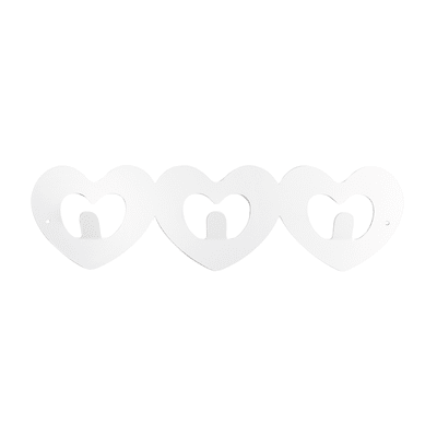 Appendiabiti Cuore in metallo 3 ganci bianco
