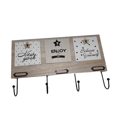 Appendiabiti Star in legno 4 ganci