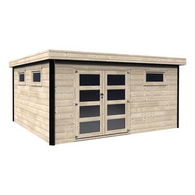 Casetta da giardino in legno Evelin,  superficie interna 16.86 m² e spessore parete 28 mm