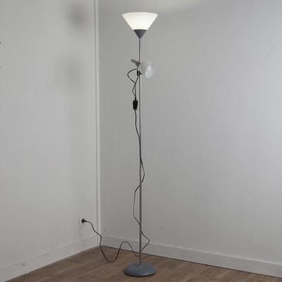 Lampada da terra Basic grigio, in plastica, H177.0cm, E27 2x