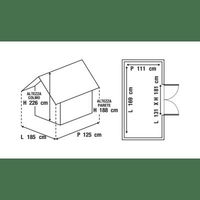 Casetta da giardino in polipropilene Lineus 6x4 2.83 m² spessore 16 mm