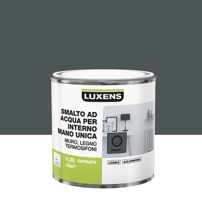 Vernice di finitura LUXENS Manounica base acqua grigio granito 1 satinato 0.5 L