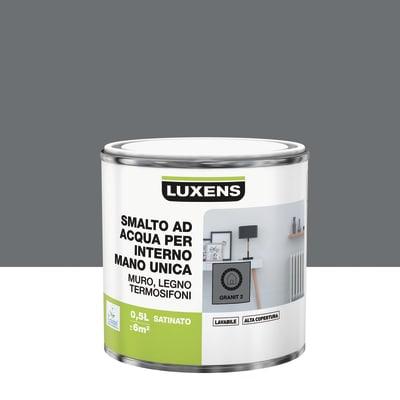 Vernice di finitura LUXENS Manounica base acqua grigio granito 2 satinato 0.5 L