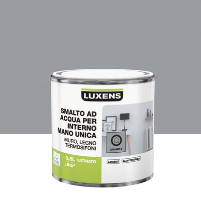 Vernice di finitura LUXENS Manounica base acqua grigio granito 3 satinato 0.5 L