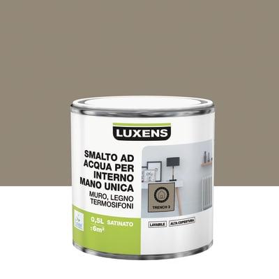 Smalto LUXENS base acqua marrone moka 1 satinato 0.5 L