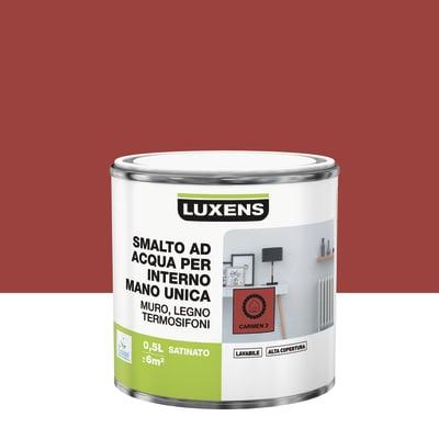 Smalto LUXENS base acqua rosso carmen 3 satinato 0.5 L