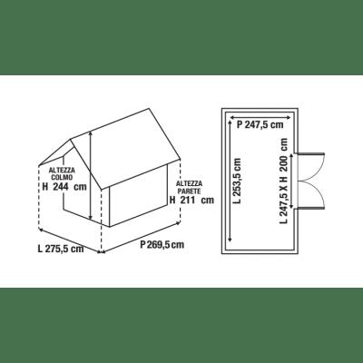 Casetta da giardino in metallo Atlanta 7.42 m² spessore 0.6 mm