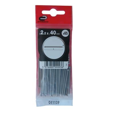Chiodo testa groppino STANDERS grigio / argento 40 x Ø 2.2 mm