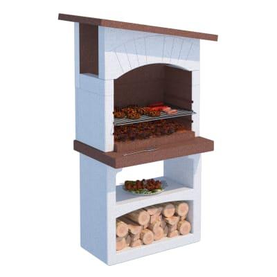 Barbecue in cemento refrattario LINEA VZ Caorle con cappa L 81 x P 58 x H 165 cm
