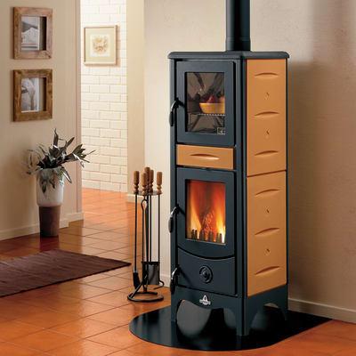 Stufa a legna con forno Milena 6.2 kW terra oriente