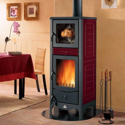 Stufa a legna con forno SUPERIOR Simona 8 kW bordeaux