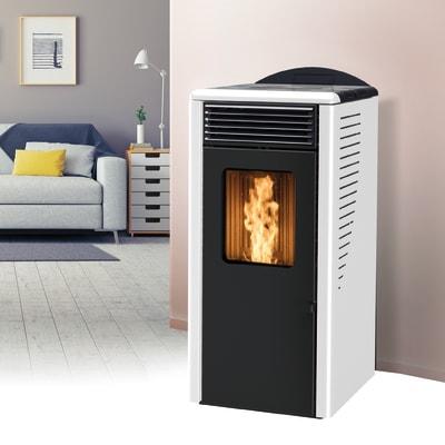 Stufa a pellet ventilata Fusion 10.2 10 kW bianco