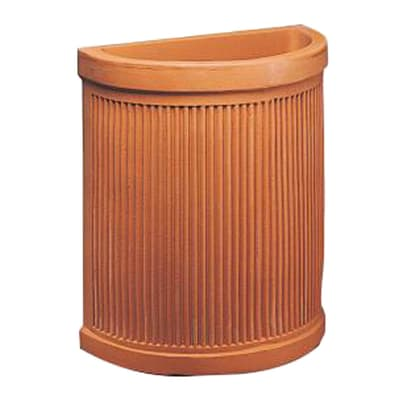 Vaso Semicircolare Millerighe in plastica colore impruneta H 53 cm, L 52 x P 30 cm