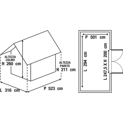 Garage in acciaio al carbonio Boston 14.73 m², Sp 0.4 mm