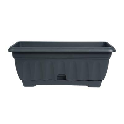 Cassetta portafiori Imagna in plastica grigio antracite H 18 , L 62 X P 20 cm