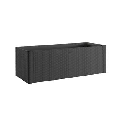 Cassetta portafiori Natural Deluxe STEFANPLAST in plastica grigio H 33 , L 100 X P 43 cm