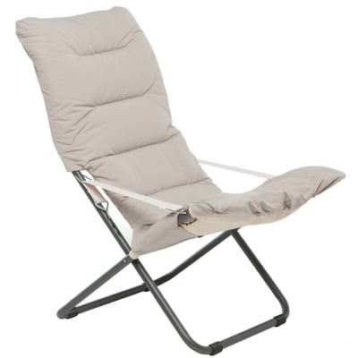 Sedia a sdraio pieghevole Comfort Soft in acciaio beige