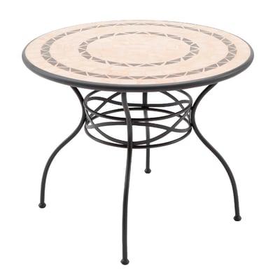 Tavolo Da Giardino Tondo Ferro.Tavolo Da Pranzo Per Giardino Rotondo New Gijon Naterial Con Piano