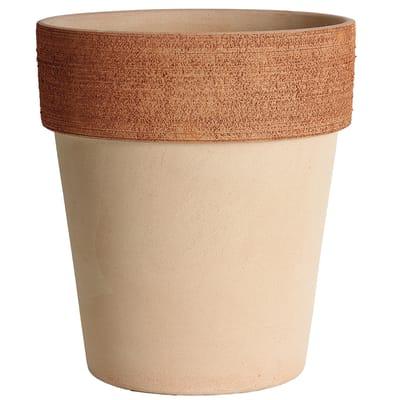 Vaso Alto graffiato in terracotta colore impruneta H 17 cm, Ø 15 cm