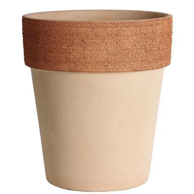 Vaso Alto graffiato in terracotta colore impruneta H 21.7 cm, Ø 19 cm