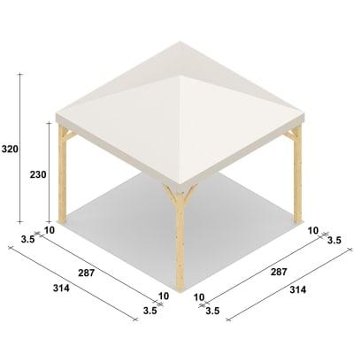 Gazebo da ricevimento in legno Nikko bianco 314 cm x 3.2 m x 314 cm