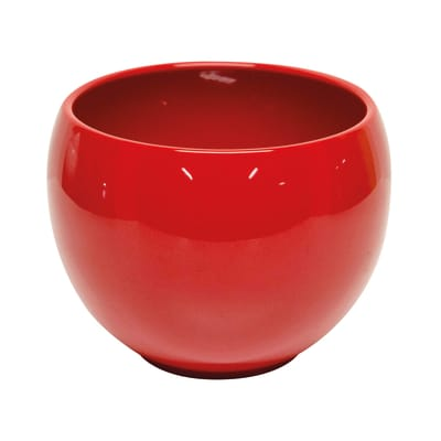 Portavaso Luna in ceramica colore rosso H 12.5 cm, Ø 16.8 cm