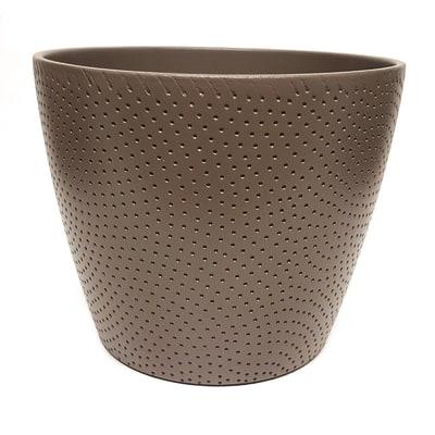 Portavaso Ion ALMAS S.A. in ceramica colore tortora H 16 cm, Ø 19.5 cm