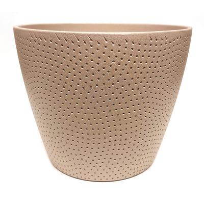Portavaso Ion ALMAS S.A. in ceramica colore sabbia H 16 cm, Ø 19 cm