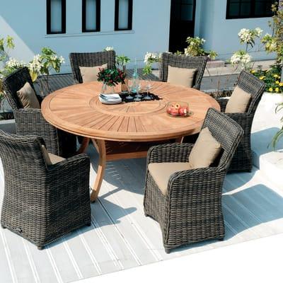 Tavoli Da Giardino In Resina Prezzi.Tavolo Da Giardino Rotondo Australia Con Piano In Legno O 180 Cm