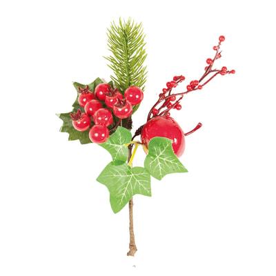 Decorazione per albero di natale Ramo con bacche e mela in pvc rossex P 10 cm,