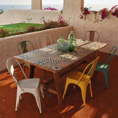 Tavoli E Sedie Da Cucina Prezzi.Set Tavolo E Sedie Soho Con Piano In Ceramica Struttura In Acacia