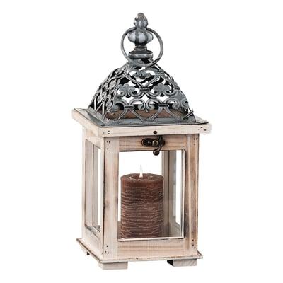 Lanterna portacandela in legno colori assortiti H 29 cm, L 13 x L 13 cm