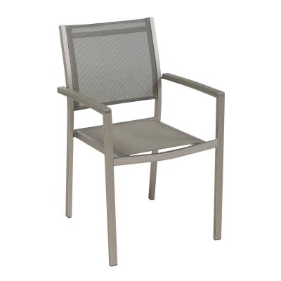 Sedia da giardino senza cuscino in alluminio Albany NATERIAL colore tortora