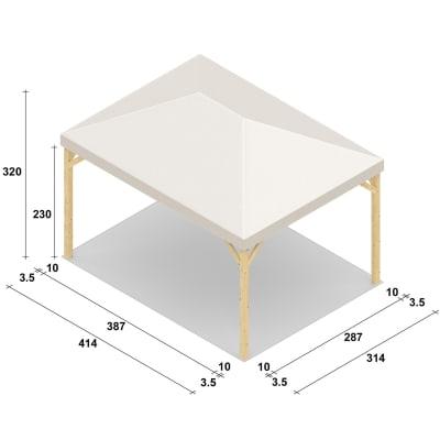 Gazebo da ricevimento in legno Nikko bianco 414 cm x 3.2 m x 314 cm
