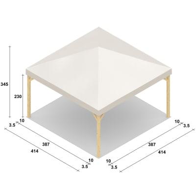 Gazebo da ricevimento in legno Nikko bianco 414 cm x 3.4 m x 414 cm