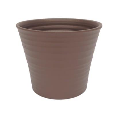 Portavaso Ruca ALMAS S.A. in ceramica colore tortora H 10 cm, Ø 12 cm
