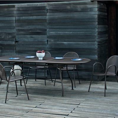 Set tavolo e sedie OASI BY EMU Evo in metallo nero 6 posti