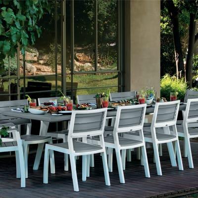 Tavoli E Sedie Da Giardino In Pvc.Tavolo Da Giardino Allungabile Rettangolare Con Piano In Resina L