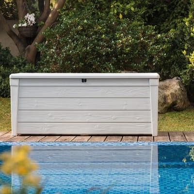 Baule da esterno KETER POOL BOX in legno bianco 145 x 61 cm