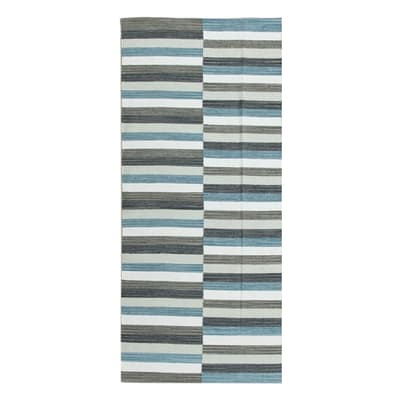 Tappeto Playfull in cotone, tessuto a mano, blu, 60x120 cm